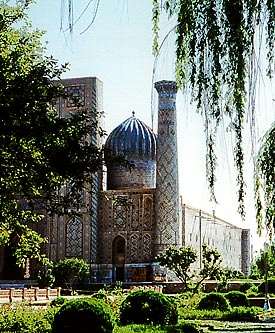 Das Tigerhaus (Medrese Shir-dar) am Registanplatz in Samarkand